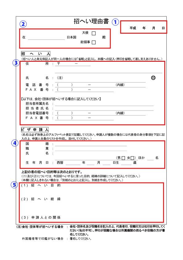 インビテーションレター(Invitation letter/招へい理由書)番号付き