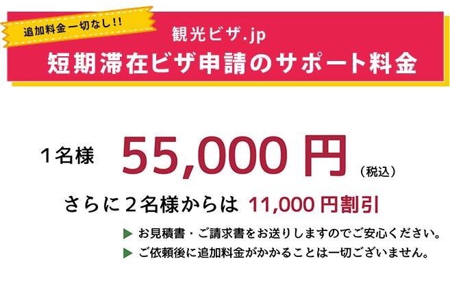 短期滞在ビザ サポート料金40,000円(税別)