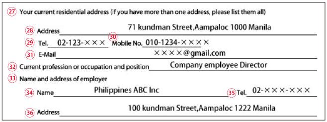 4ビザ申請人の情報Bの書き方・記入例