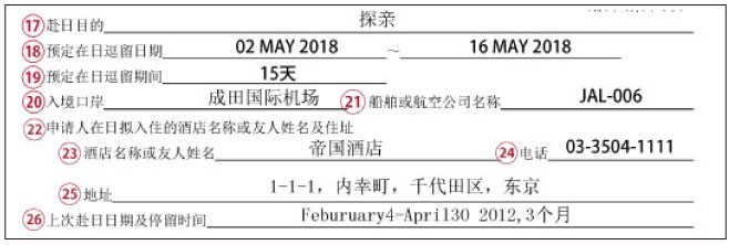 3渡航情報の書き方・記入例(赴日签证申请表)