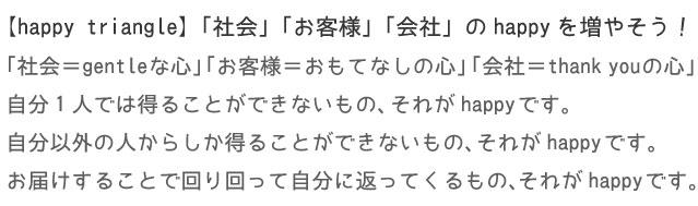 【happy triangle】「社会」「お客様」「会社」のhappyを増やそう!!